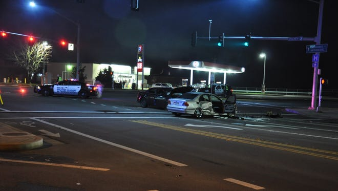 A t-bone collision Thursday night in northeast Salem left two women injured.