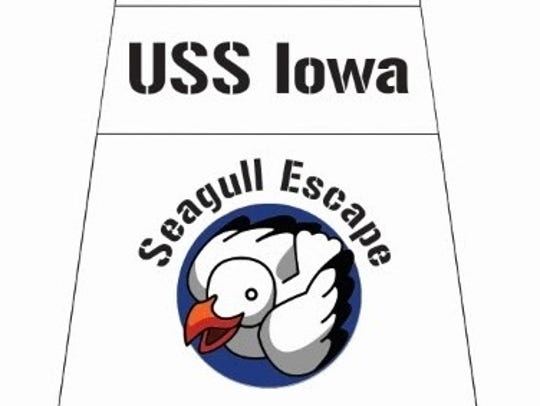 The logo for the seagull escape game at the USS Iowa