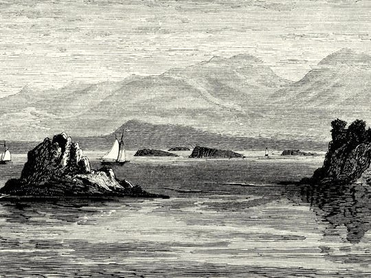 """This panoramic engraving offers an idealized view of vessels sailing past the Juniper Island lighthouse, with Four Brothers islands and the Adirondacks in the background. From the 1790s to 1814, Gideon King of Burlington, known as the """"Admiral of Lake Champlain,"""" controlled nearly half of the lake's fleet of large sloops moving passengers and freight."""