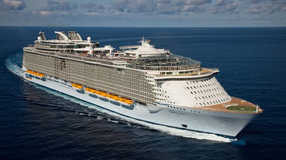 The launch of Royal Caribbean International's Oasis of the Seas, the worlds largest cruise ship. The Royal Promenade.