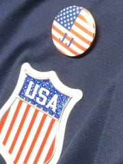 The U.S. men's hockey team is wearing a J.J. pin in