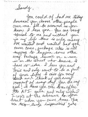The first page of a letter that Joshua James Corbett wrote to Sandra Bullock.