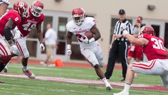 Indiana's Devine Redding finds some room to run during the Cream and Crimson Spring Game on April 18, 2015 at Memorial Stadium in Bloomington.