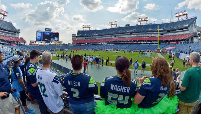 Seahawks fans watch warm-ups prior to Sunday's game against the Tennessee Titans.