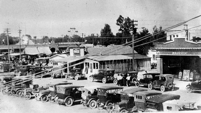 In this old photo, several clues give a hint as to its location in early Mesa, including Majestic, Mesa's first indoor movie theater built around 1910.