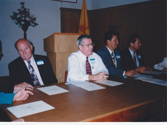 Sen. John Arthur Smith, center, in an undated photo with Spaceport commissioner Gary Whitehead, right, and the late Republican Rep. Murray Ryan, left.
