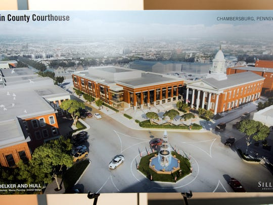Computer illustrations of Franklin Courthouse plans