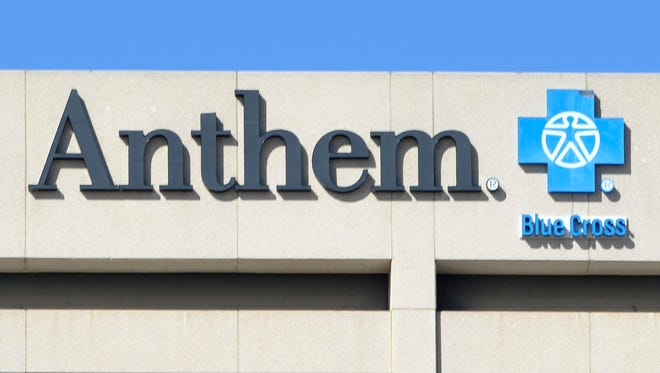 File photo takenin 2015 shows health insurance giant Anthem's logo at the company's office building in Woodland Hills, California.