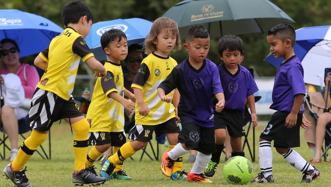 The FC Barrigada Crusaders Navigator play against the NAPA Rovers in a Week 4, U6 division match of the Triple J Auto Group Robbie Webber Youth Soccer League 2017 Spring season at the Guam Football Association National Training Center. The Fall season of the Robbie Webber Youth League begins Sept. 9.