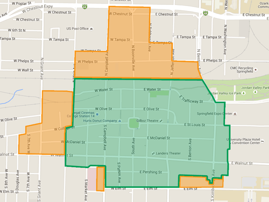 Current boundaries include the area shaded in green while the proposed expansion is highlighted in orange