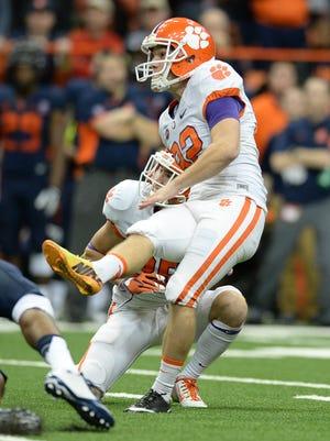 Clemson place kicker Greg Huegel (92) kicks a 42 yard field goal against Syracuse during the 4th quarter at the Carrier Dome in Syracuse, N.Y., Saturday, Nov. 14, 2015.