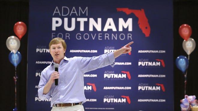 Republican gubernatorial candidate Adam Putnam delivers remarks during a campaign stop in Altamonte Springs.