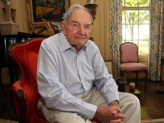 Banker and philanthropist David Rockefeller, photographed