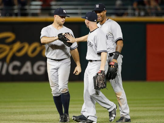 Aug 6, 2018; Chicago, IL, USA; New York Yankees players