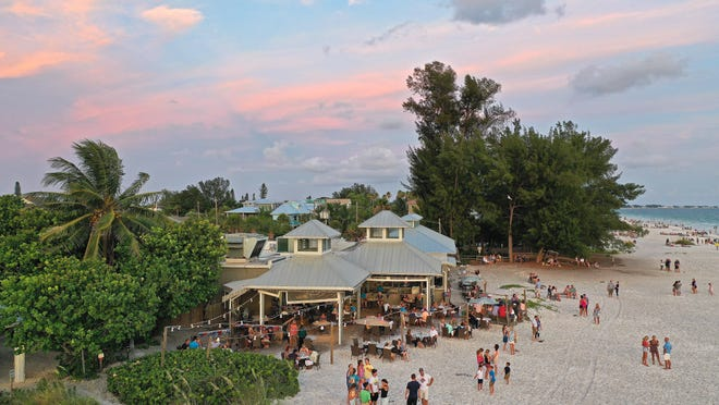 Sandbar places diners right on the beach of Anna Maria Island overlooking the Gulf of Mexico and Tampa Bay.