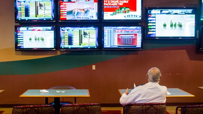People bet on races at the Gulf Coast Racing center on Wednesday, June 28, 2018.