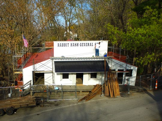 Nov. 11, 2016: Work is done on the new Rabbit Hash General Store sign.