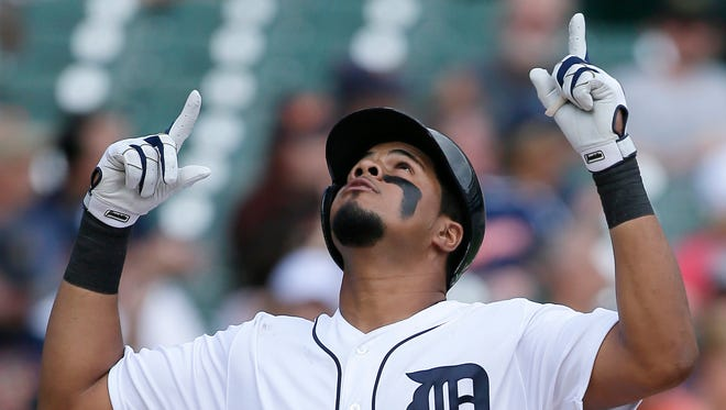 Tigers' Jeimer Candelario celebrates his solo home run against the White Sox, his first homer as a Tiger, in the sixth inning at Comerica Park on Sept. 14, 2017.