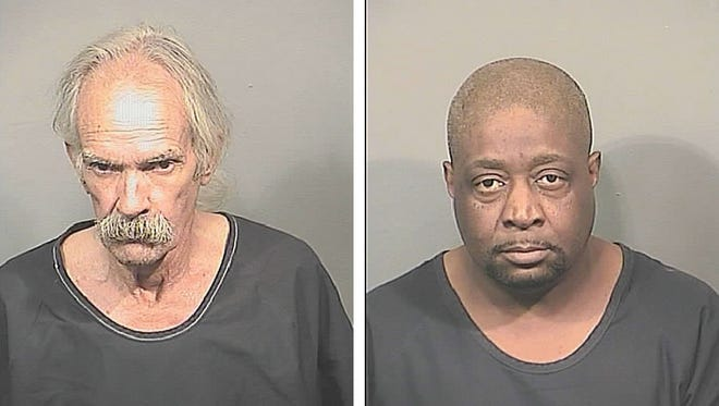 Clyde Robert Pirtle, 63, left, was arrested and charged with two counts of sale of cocaine with 1,000 feet of a place of worship.  James Darby, 52, was arrested and charged with two counts of possession of cocaine with the intent to sell and two counts of sale of cocaine.