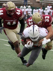Zack McMahen (33) has been a stalwart at linebacker for the Midwestern State Mustangs.
