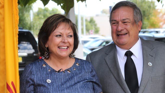 New Mexico Gov. Susana Martinez and Los Lunas Mayor Charles Griego celebrate a decision by Facebook to locate its newest data center in the state during an event in Los Lunas, N.M., on Thursday, Sept. 15, 2016. Martinez said New Mexico would not have been on the radar of the social media giant had it not been for a meeting she had with executives in August 2015.