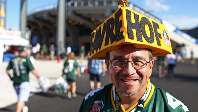 Green Bay Packers fan George Decota shows his support prior to the 2016 NFL Hall of Fame enshrinement at Tom Benson Hall of Fame Stadium.