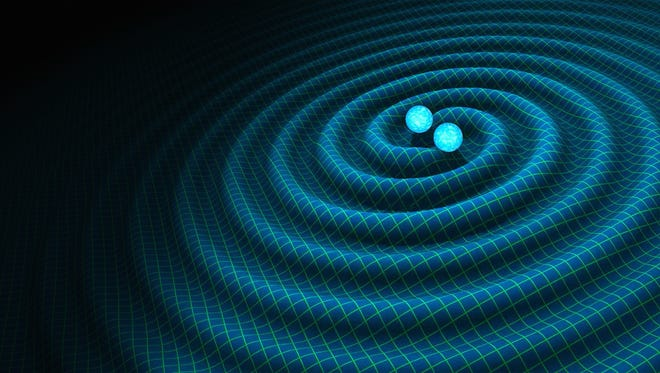 An undated handout graphic, made available Feb. 11, 2016 by NASA showing an artist's impression of gravitational waves generated by binary neutron stars.