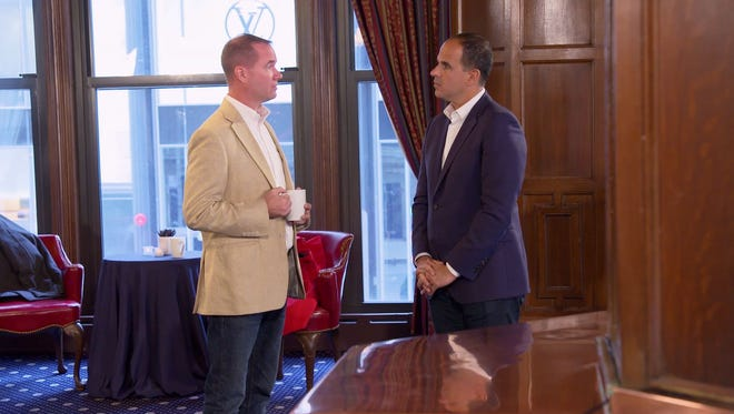 "Indy business owner and CNBC's ""The Partner"" contestant Chuck Brewer, left, meets business mogul and reality star Marcus Lemonis during the first episode of the show, which aired March 7."