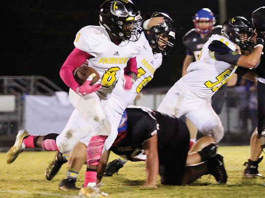 Yellow Jacket #8 Darius James breaks records with four touchdowns for the Jackets in the 48-7 win over the Harpeth Indians October 6, 2017.
