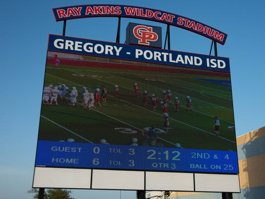 Gregory-Portland high schools brand new score board.