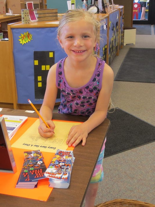 josie twohig signing up for summer reading