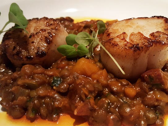 Scallops with lentejas castellanas at Proof's Second