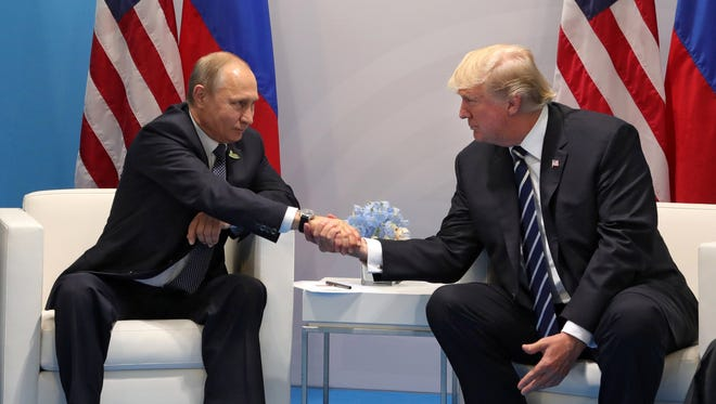 President Trump meets with Russian President Vladimir Putin at the G20 summit in Hamburg, Germany, on July 7, 2017.