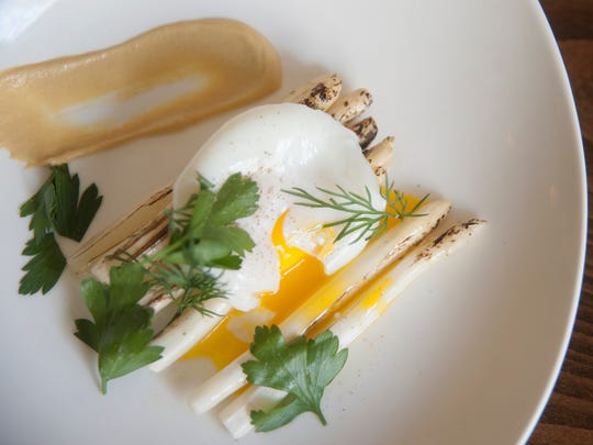 The white asparagus with egg at Baril in Philadelphia.  04.12.17