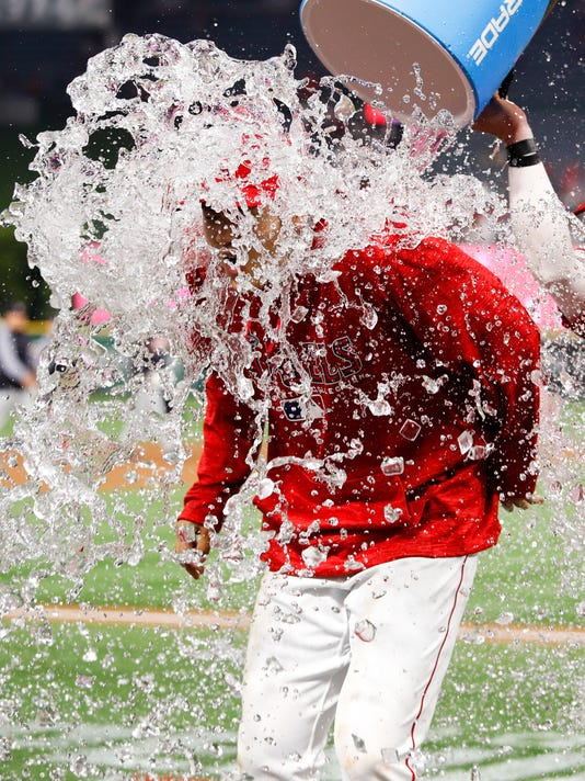 Los Angeles Angels' Shohei Ohtani, of Japan, is doused with liquid by teammate Kole Calhoun after a baseball game against the Cleveland Indians, Tuesday, April 3, 2018, in Anaheim, Calif. The Angels won 13-2. (AP Photo/Jae C. Hong)