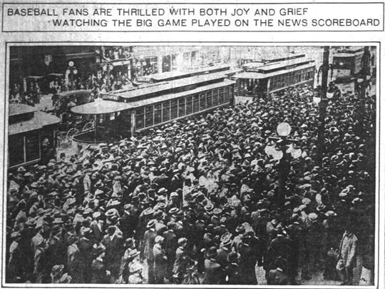 Oct. 9, 1912 Indianapolis News shows the crowds that formed in front of The News building to watch results of the World Series.
