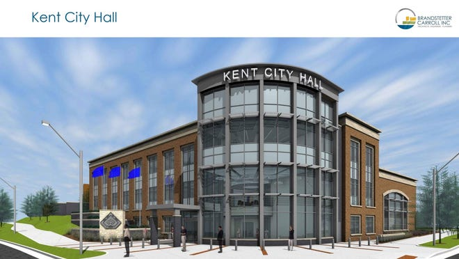The newest rendering of the proposed Kent City Hall was presented to council on Aug. 5. Council liked the appearance of the building but disagreed on if an optional buildout should be added on top of council chambers.