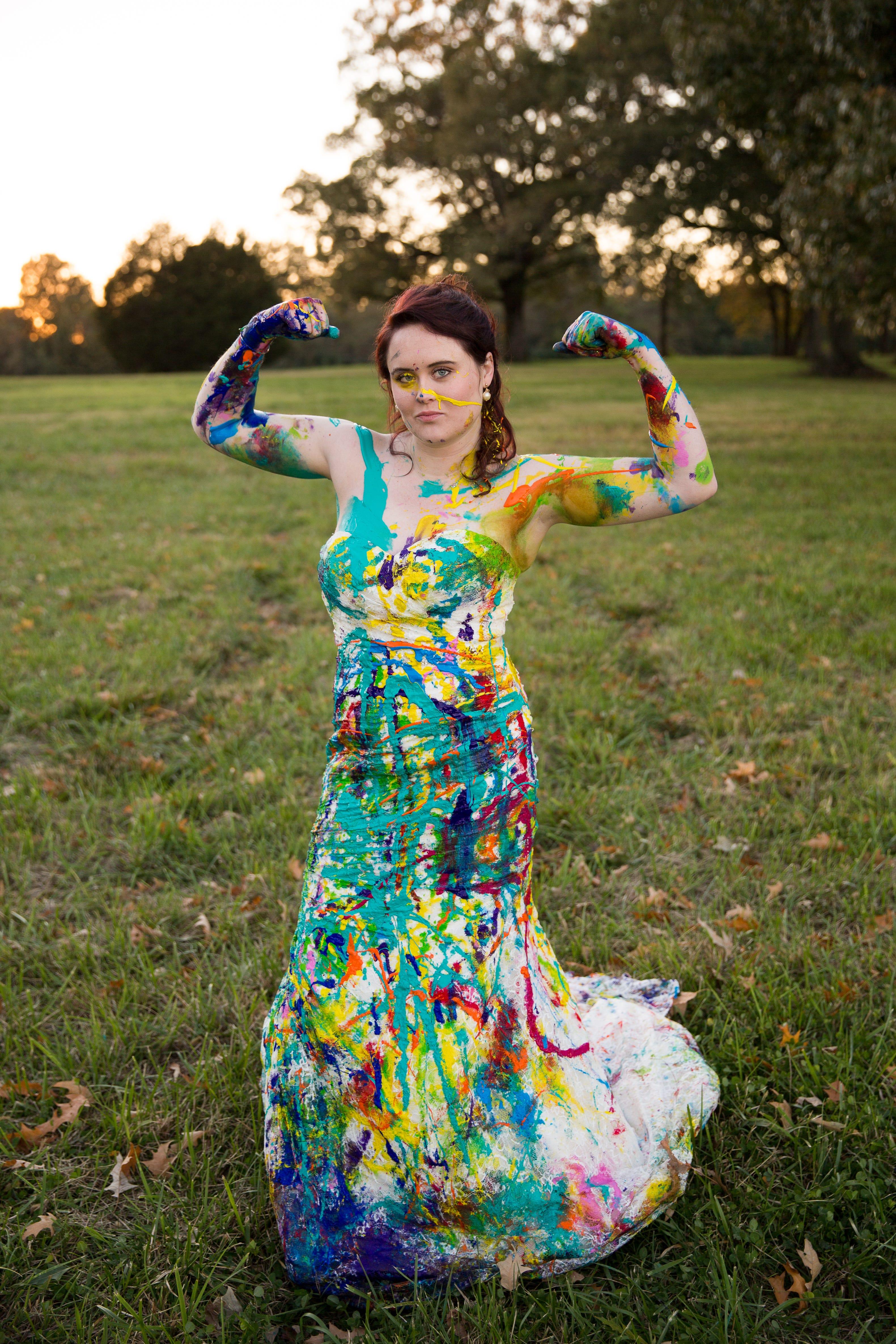 brides trashing wedding dress