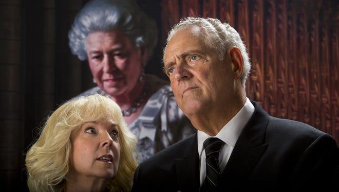 "Cathy Dresbach and Peter Van Norden in Arizona Theatre Company's ""King Charles III."""