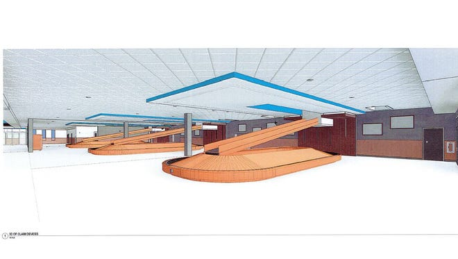 A 3-D rendering of the design of the planned baggage claim expansion at Sioux Falls Regional Airport.