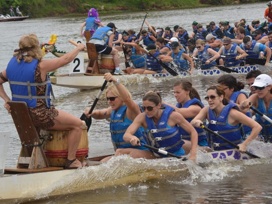 ANI Dragon Boats  Karol Scully (left), drummer for the CrossFit Alexandria dragon boat team, sets the pace for the team as they paddle down the Red River in the 2014 Louisiana Dragon Boat Races held in downtown Alexandria Saturday, May 10, 2014. The Louisi