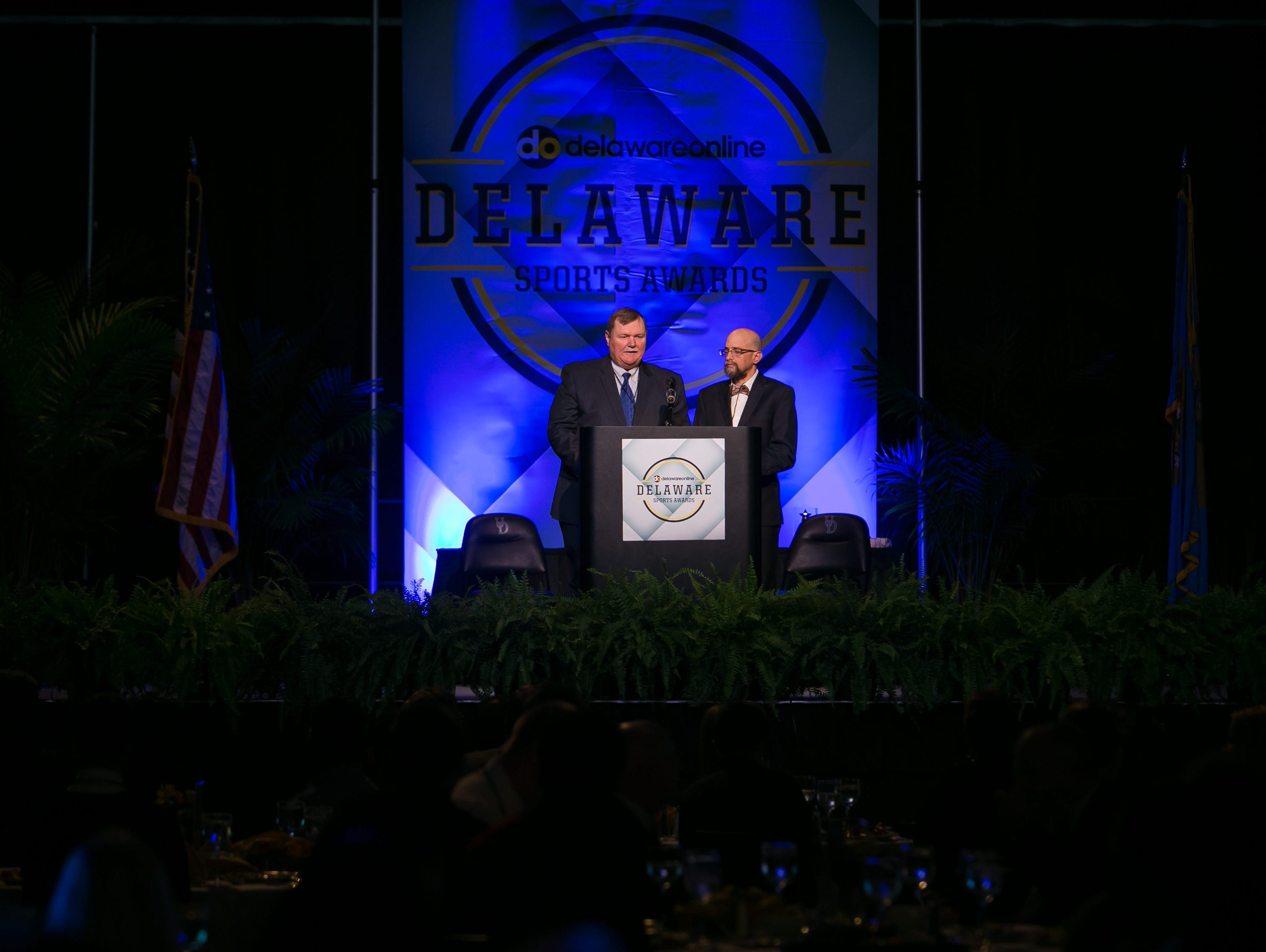 Sports reporter Brad Myers and sports editor Jason Levine welcomes attendees at the Delaware Sports Awards.