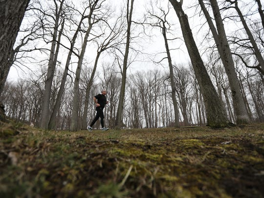 Tom Discher of New Milford is shown during his run at Van Saun County Park in Paramus on Sunday.