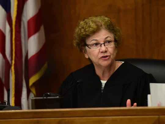 Superior Court Judge Margaret Foti addresses the jury in April at the start of Daniel Rochat's trial in the 2012 slaying of Barbara Vernieri.