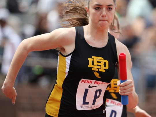 Julia DiBenedetto runs the anchor leg of the 4x100 meters for River Dell. River Dell came in with a time of 53.43 at the Penn Relays in Philadelphia. Thursday April 27, 2017