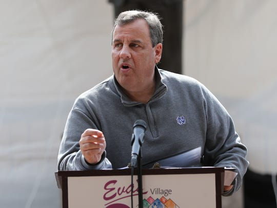 Gov. Chris Christie speaks at the 35th anniversary celebration of Eva's Village in Paterson on Sunday, April 23, 2017.
