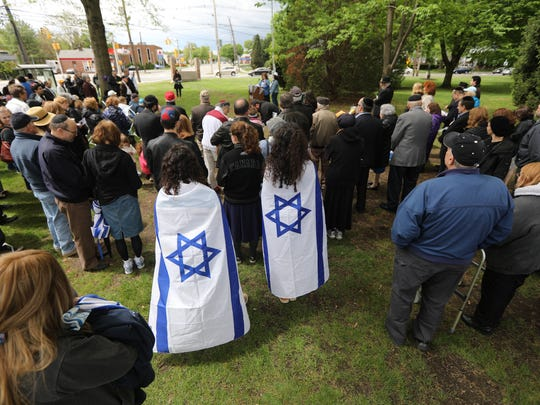 Approximately 100 people attended the Israeli flag