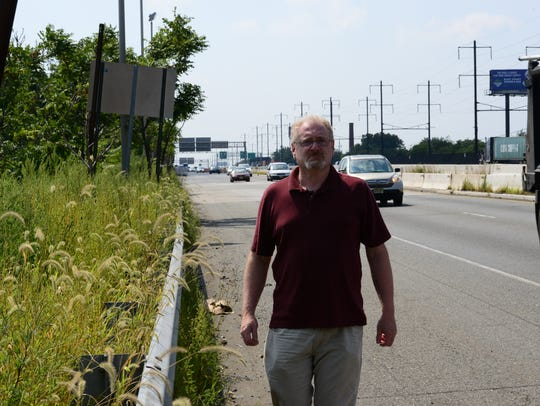 Record reporter Jim Beckerman walks along Routes 1