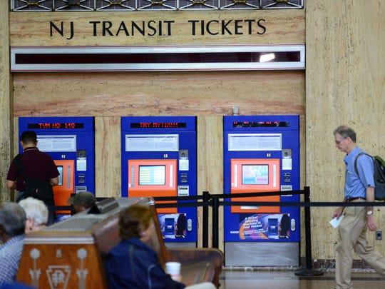 Passengers inside Newark Penn Station.