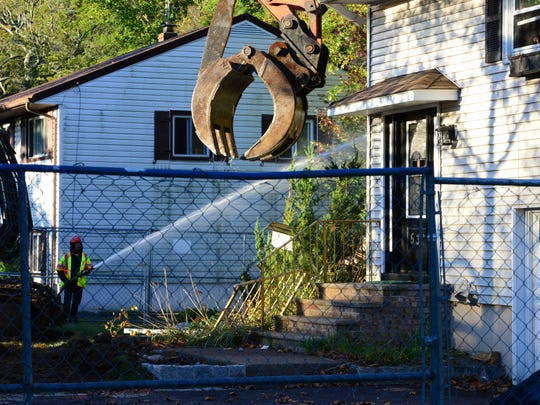 Demolition begins Tuesday on the first of 14 flood-prone properties near the Hackensack River in New Milford.